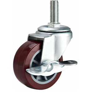 Light Duty Polyurethane Caster Threaded Stem Side Brake